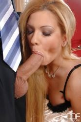 Hungarian college girl Bibi Noel putting on condom with mouth