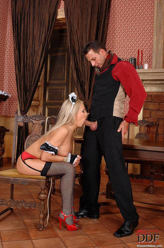 bound maid britney spring gets her mouth and ass drilled