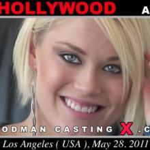 Horny blonde Ash Hollywood gives interviews and undressing