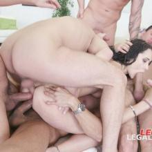Facialized Angie Moon GangBang with Triple Anal