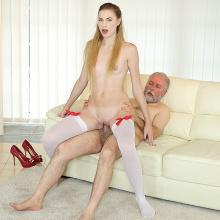 Cutie Milena Devi joins an old man for an anal fuck