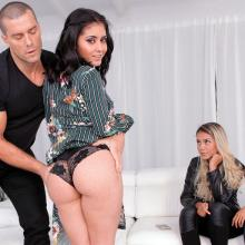Latin porn stars Canela Skin and Aysha fun with hard cock