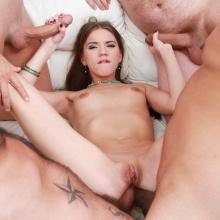 Evelina Darling mini gangbang with DOUBLE ANAL & cum swallow