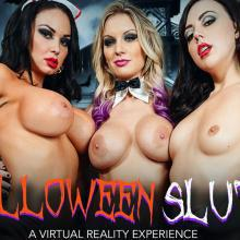 Whitney Wright, Kenzie Taylor and Brooke Beretta share a cock on Halloween