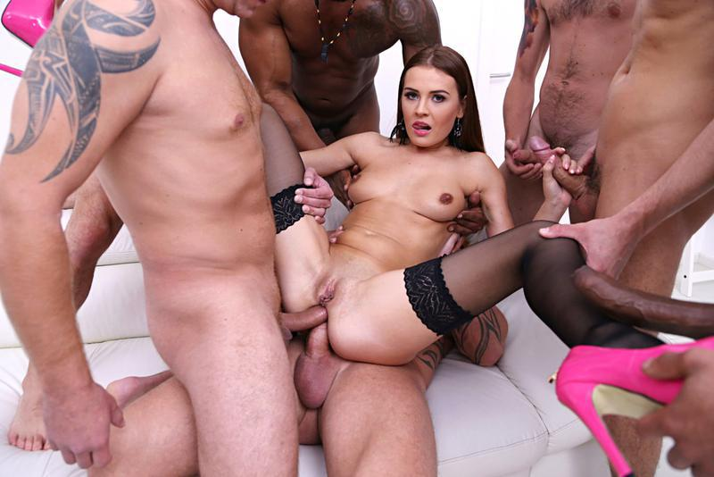 Hard double anal for a prisoner during the gang bang with guards