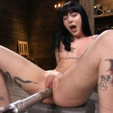 Goth slut Charlotte Sartre gets Machine Fucked in Bondage