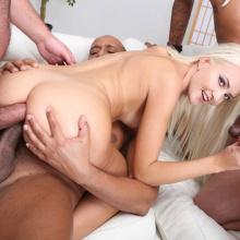 Anna de Ville and Renata Fox having Sex Party with six Guys scene with Helena Moeller