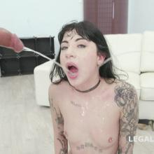 Nikky Thorn banging two Black Cocks inside her at once scene with Charlotte Sartre
