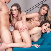 Athena Faris, Valentina Nappi and Karma Rx share a fat Prick