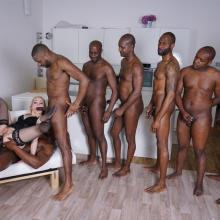 Rebecca Sharon gets DOUBLE ANAL with 8 black guys