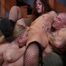 Victoria Voxxx and Riley Reyes in anal threesome BDSM Action