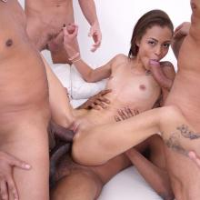 Tiny Polly Petrova assfucked and DAPed by Monster cocks