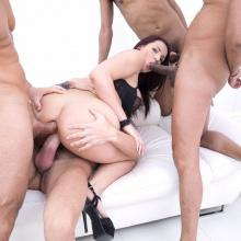 Busty Jolee Love having fun with four big Cocks