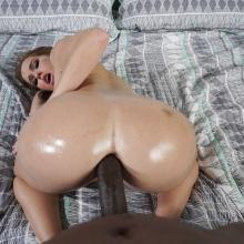Hottie Megan Rain enjoys some black Cock in her Ass