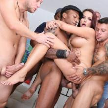 Jolee Love gets gangbanged by 10 horny Dudes
