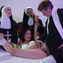 Nuns Julia Ann & Dana Vespoli helps a hot Victoria Voxxx fuck a big Dick