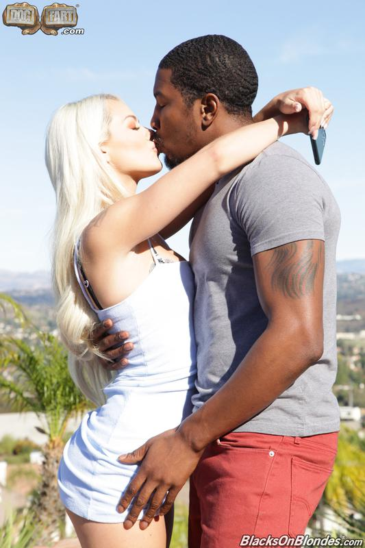 Horny blonde loves interracial sex