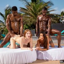 Jia Lissa & Liya Silver - Blacked - Outsite foursome orgy