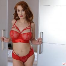 Isabella Lui posing in red lingerie - Virtual Taboo