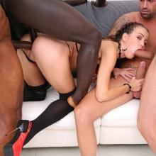 Cindy Shine endures 8 Double Anal positions & creampie pushing