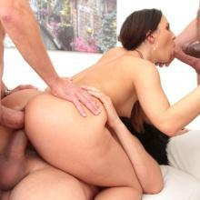 Kristy Black gets huge facial & piss clean up after Double Anal