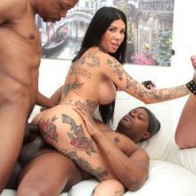 Tattooed slut Megan Inky gets Double Anal with 5 guys