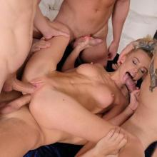 Flexible blonde Lara Frost gets Anal fucked by 4 cocks