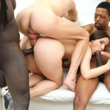 Kristy Black gangbanged by 6 guys with double anal